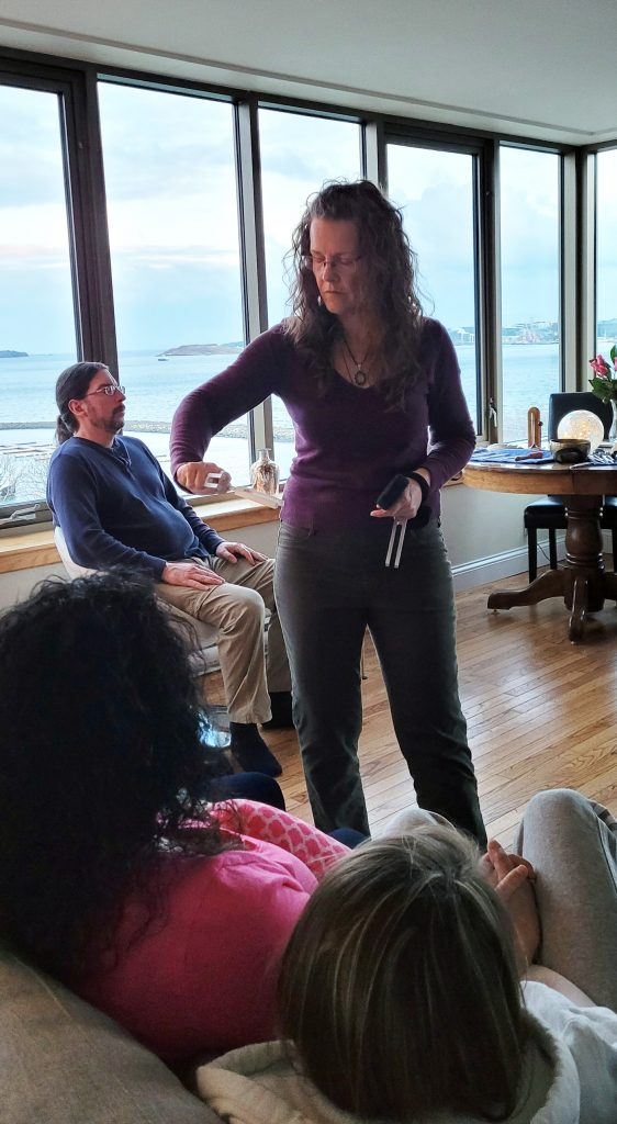 Kerry offering sound healing at the Creating Connections Circle in April 2021